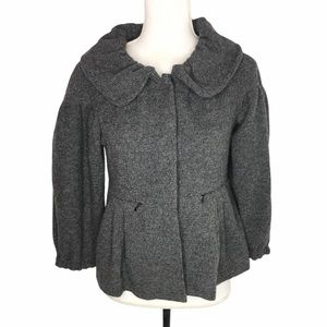 French Connection Gray Peplum Snap Button …